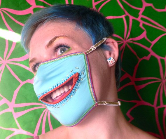 Rainbow Shine zipper dust mask for Burning Man, unicorns, fairies, ravers, and anyone else in need of a freaky disguise