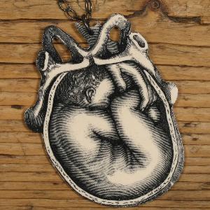 Uterus and fetus necklace pendant