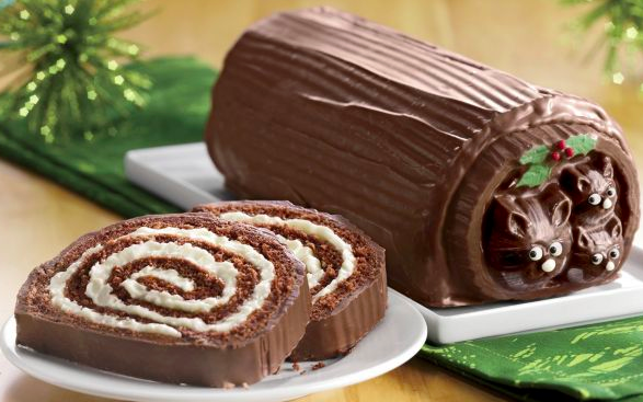 Forest Friends Yule Log cake by The Swiss Colony
