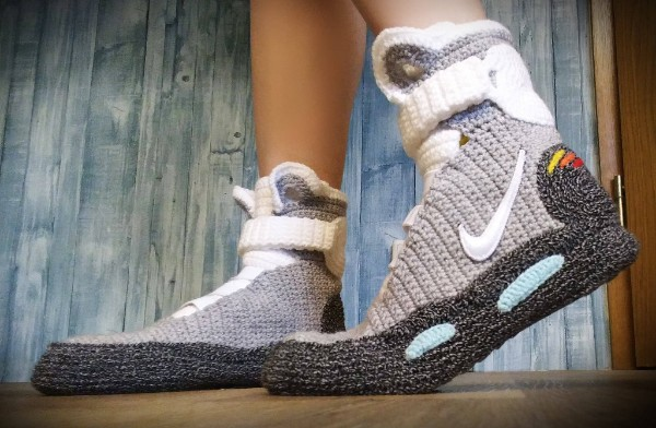 Marty McFly Nike crocheted slippers