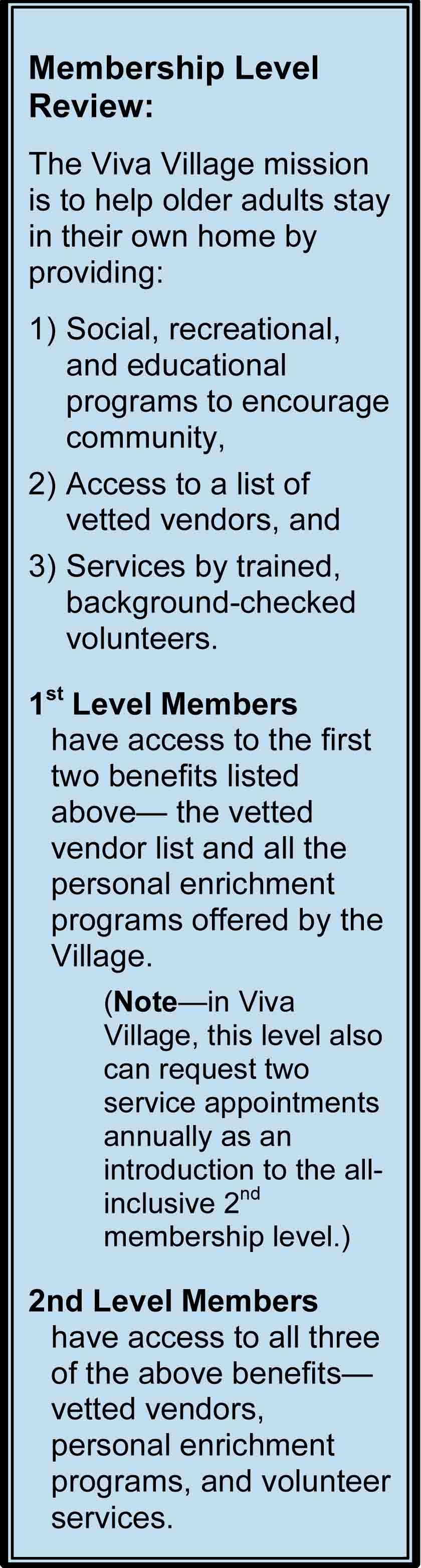 Viva Village Membership Levels