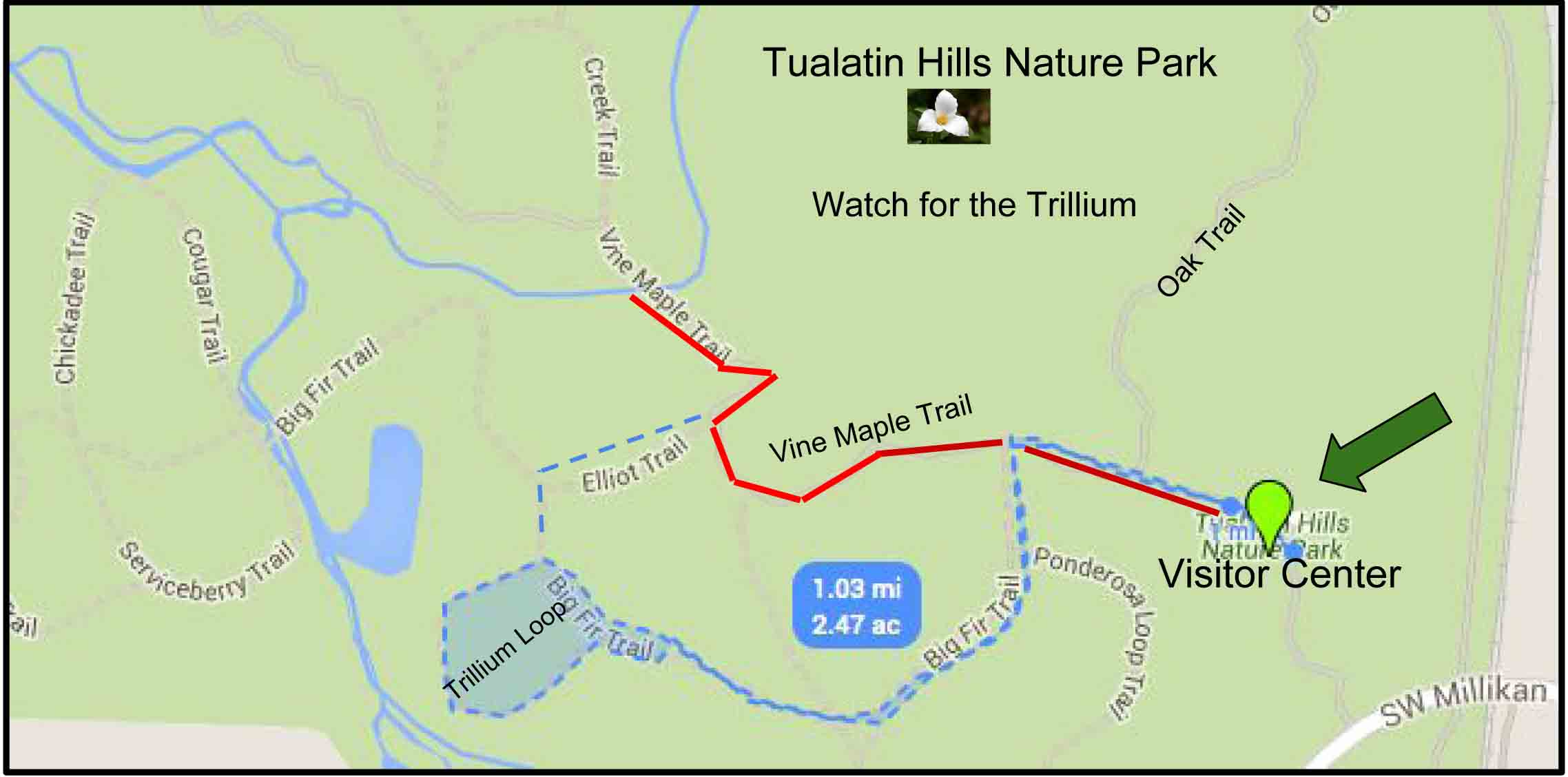 Tualatin Hill Nature Park map