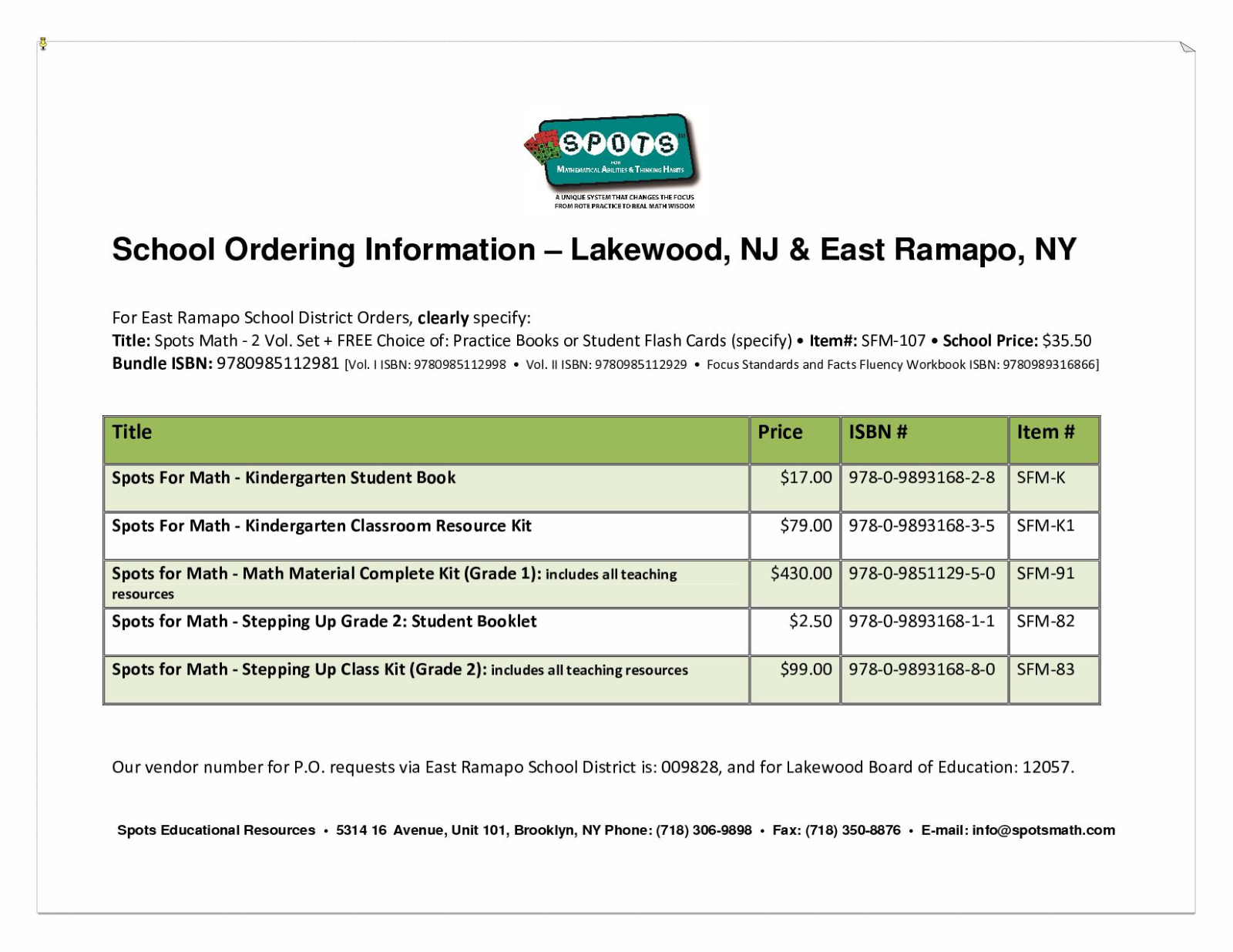 East Ramapo & Lakewood School Ordering Information