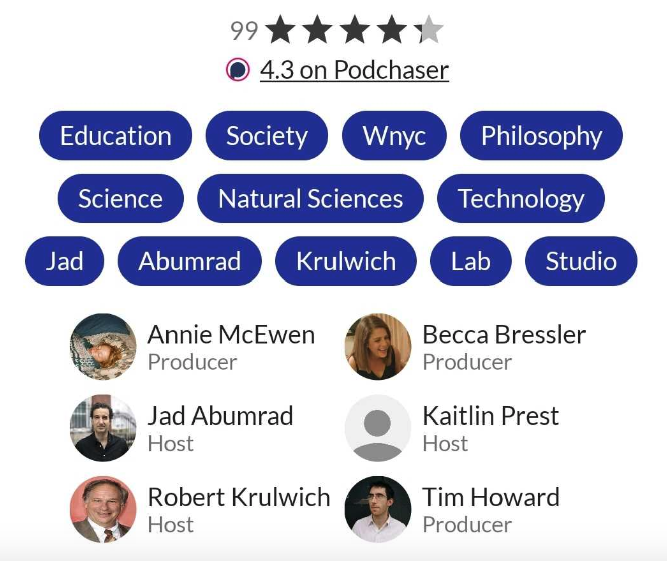 View Podchaser ratings and creator credits on Player FM