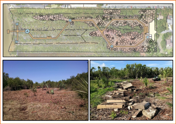 trio of photos showing artist illustration of park layout, photo of cleared field, and photo of concrete debris in field.