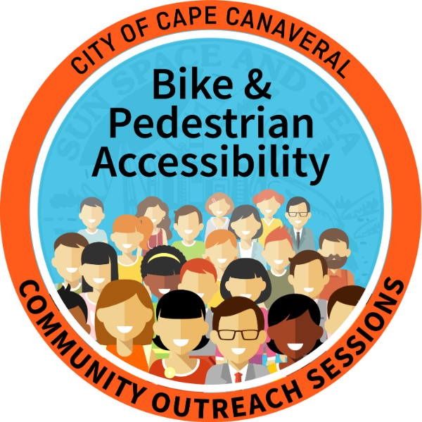 City of Cape Canaveral Community Outreach sessions: bike & pedestrian accessibility. graphic of cartoon people in crowd