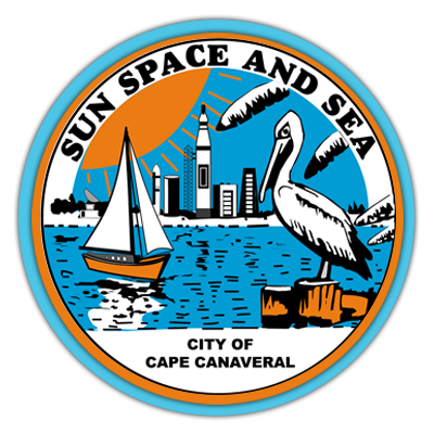 City seal, with graphics of boat, pelican, water and land. Sun space and sea. City of Cape Canaveral.