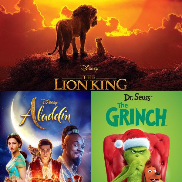 collage of three movie posters: the lion king, aladdin, the grinch