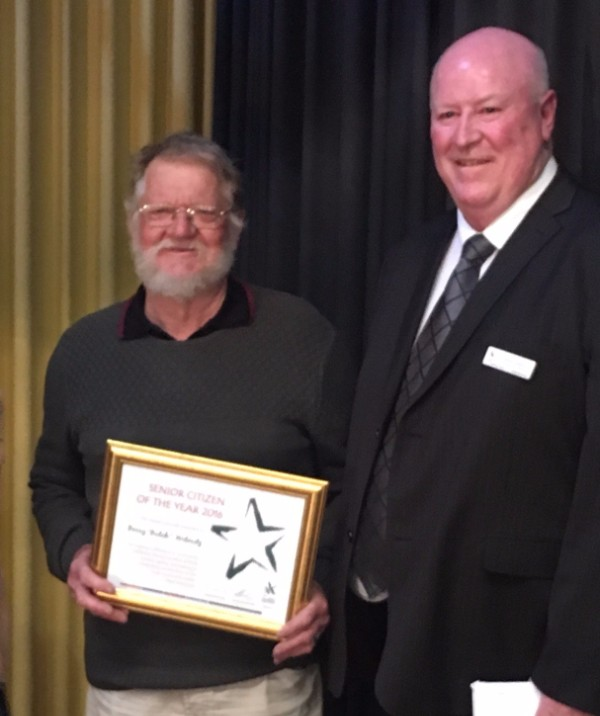 Barry Witmitz, West Wimmera SHire Senior Citizen of the Year 206 and West Wimmera CEO David Leahy