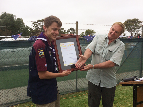 Young Citizen of the Year | Jonathan Kyle receives his award from Cr Richard Hicks