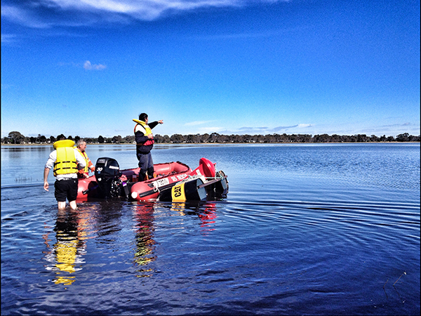 Buoys being installed in Lake Wallce
