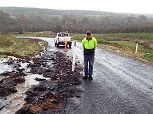 Road flood damage Powers Creek Road
