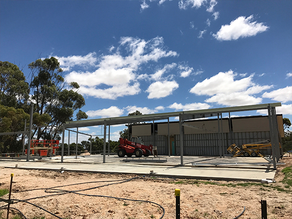 Kaniva Community Hub building structural steel installation