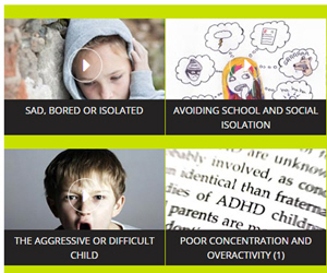 Image of topics being covered on the MindEd mental health education website.