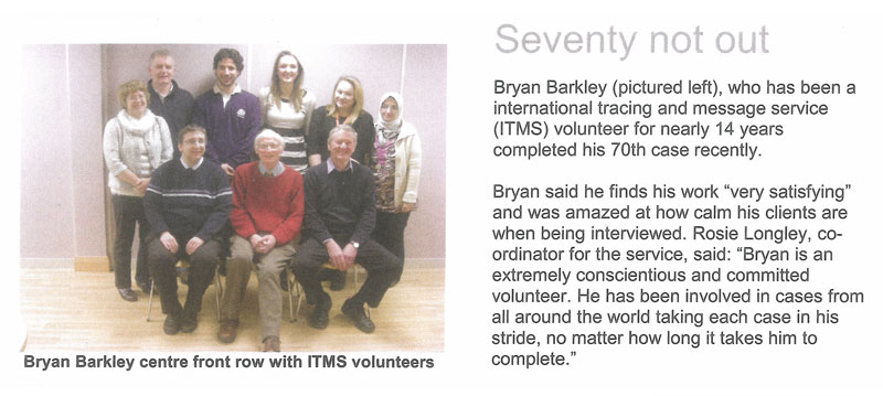 British Red Cross newsletter article