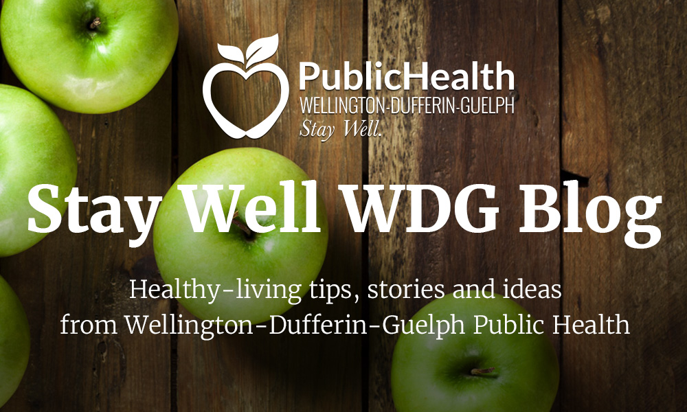Stay Well WDG Blog banner with apples on wooden boards