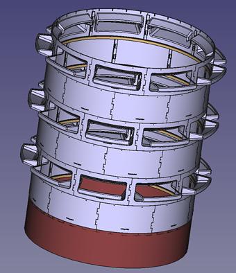 City version rendering, sitting on steel base.