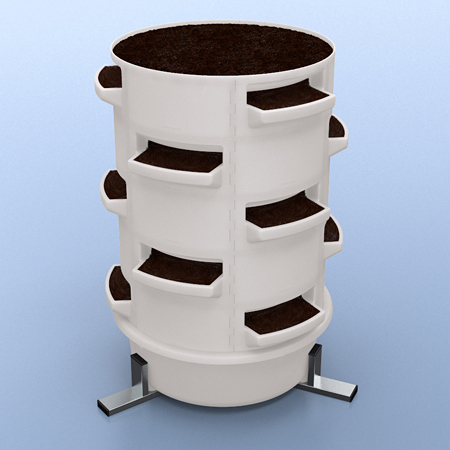 A soil-based barrel using shelf- and closed parts alternating and using a wickerbed base and steel stand.
