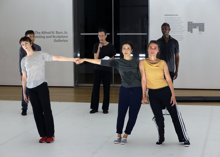 "Yvonne Rainer (third from left ) and dancers perform an iteration of her work-in-progress""The Concept of Dust,"" the newest version of which will be performed at the Kitchen in Manhattan. credit: Michelle V. Agins/The New York Times."