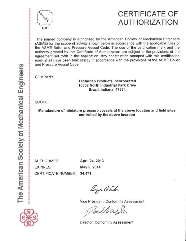 Example ASME Certificate