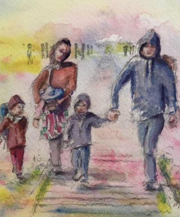 Painting of Refugees by Michelle Basman