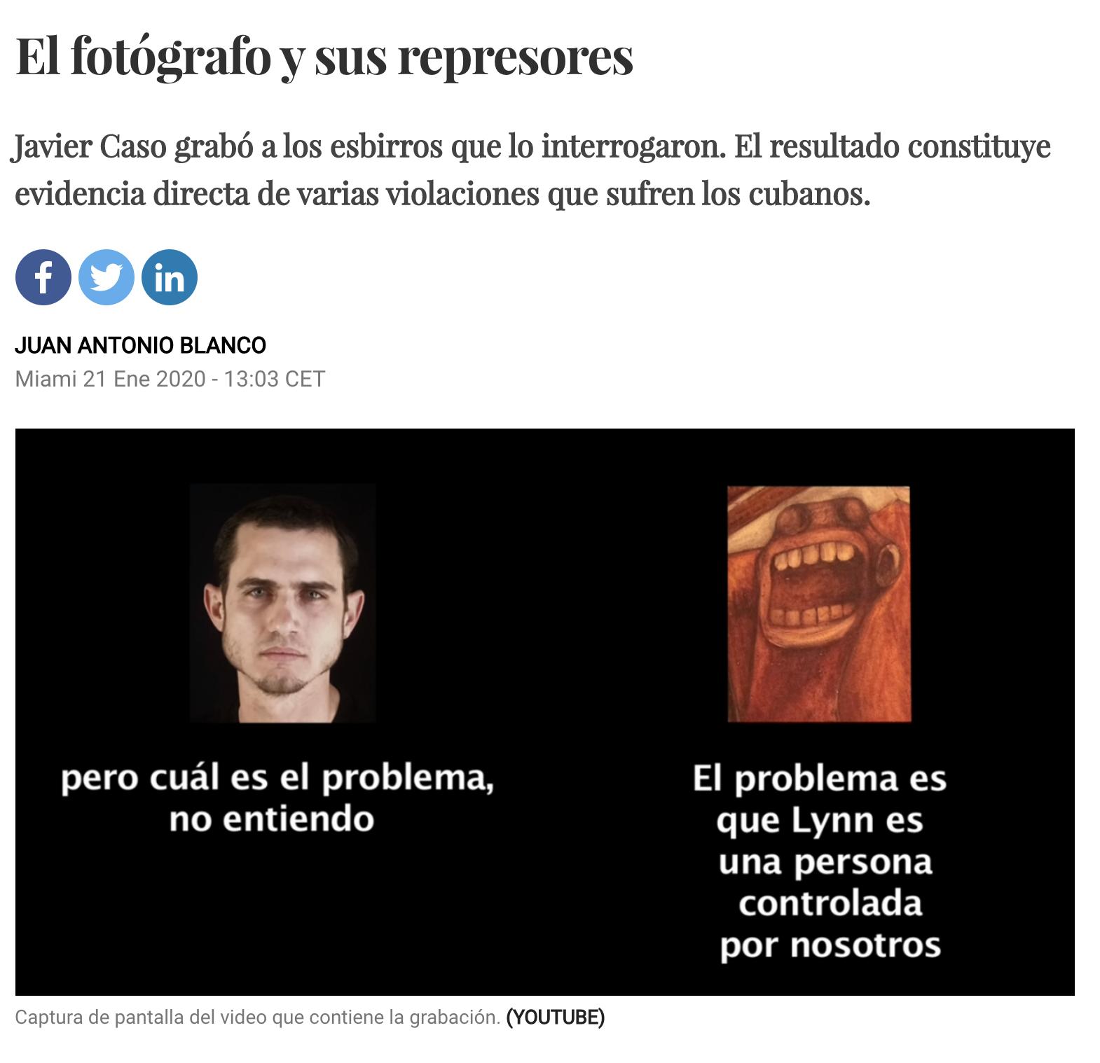 Juan Antonio Blanco denuncia represores