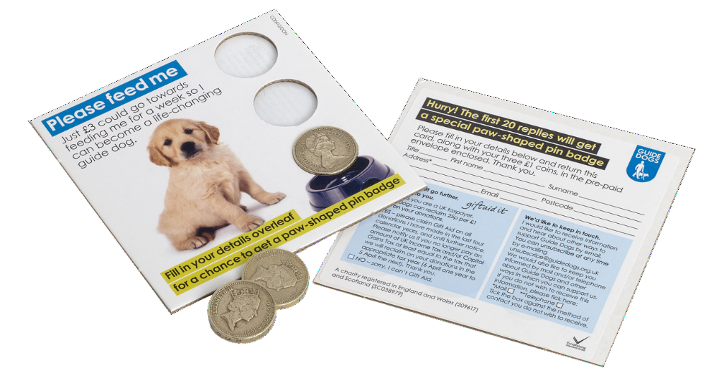 "Please feed me - The Guide Dogs for the Blind Association raise awareness and cash in their direct mail campaign that collects £3, in this innovative ""Please feed me"" card with adhesive circles that grip one-pound coins and carry them safely back to a worthy cause."