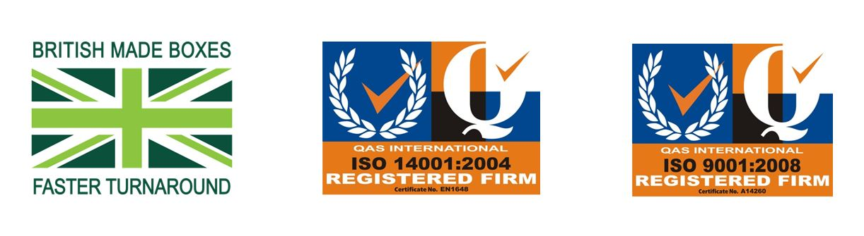We make boxes in Britain which means faster turnaround times. We also hold environmental accreditations to ISO 9001 and ISO 14001 giving you complete peace of mind.