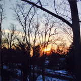 Snow at sunset from New Dorm. Photo by Andrew Davis