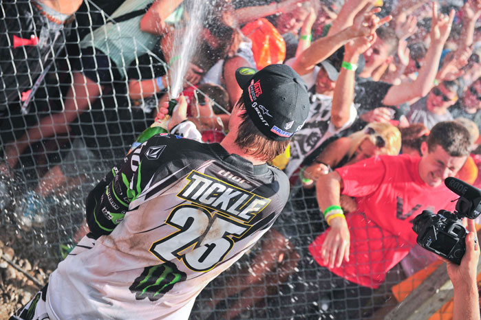 Pro Circuit's Broc Tickle Sprays Champagne on the Fans