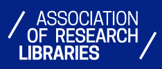 "The logo for the ARL. It's a simple logo with a blue background and white text that reads ""Association of Research Libraries""."