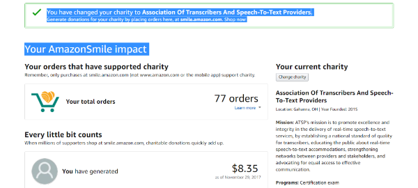 A picture of the AmazonSmile webpage detailing your supported charity, your orders, and how many donations you have generated