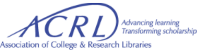 "The logo for the ACRL. The letters for the acronym are blue, and the line through the ""A"" continues and encircles the other letters."