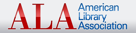 The logo for the ALA. The acronym is written in big red letters, with the words written out beside it in smaller text with a blue font color.