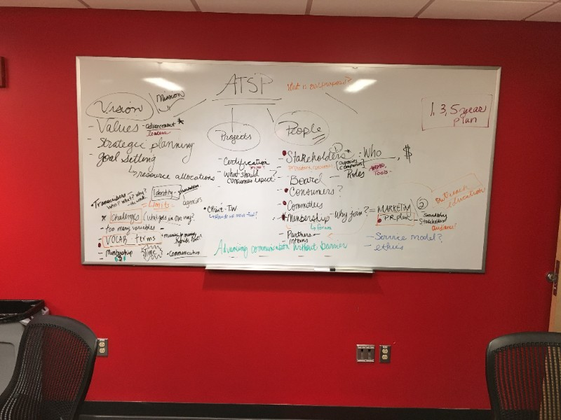 A white board against a red wall featuring bulleted notes about ATSP's vision, values, projects, and stakeholders