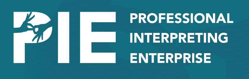 Displayed is the logo for Professional Interpreting Enterprise, or PIE
