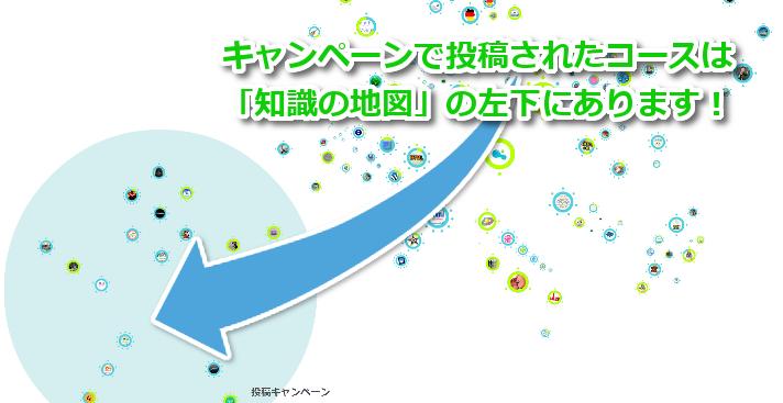 キャンペーンで投稿されたコースは「知識の地図」の左下にあります!