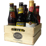 Mixed International Beer 12 Pack with Wooden Beer Holder