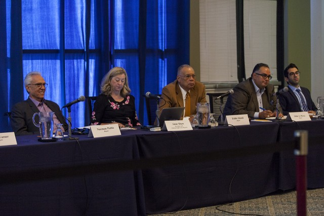 The University of California Board of Regents working group to modify the Statements of Principles Against Intolerance held a public forum in the Covel Grand Horizon room Monday. (Hannah Ye/Daily Bruin senior staff)
