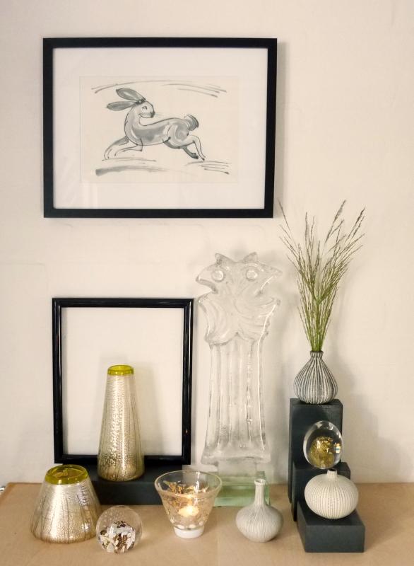 Glas, keramik og tegninger hos Ebeltoft Glas.