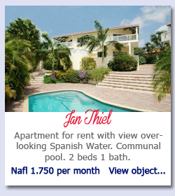 Jan Thiel - Apartment for rent with view overlooking Spanish Water. Communal pool. 2 beds 1 bath. Nafl 1.750 per month   View object...