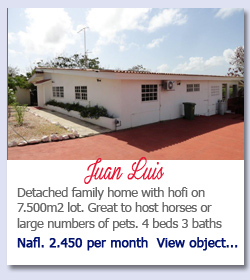 Juan Luis - Detached family home with hofi on 7.500m2 lot. Great to host horses or large numbers of pets. 4 beds 3 baths Nafl. 2.450 per month  View object...