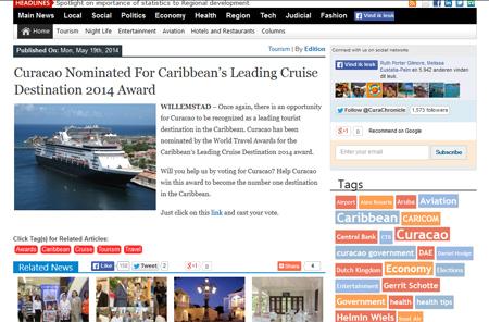 Curacao nominated for Caribbean's Leading Cruise Destination 2014 award