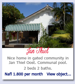 Jan Thiel Curacao - Nice home in gated community in Jan Thiel Oost. Communal pool.  2 beds 2 baths. Nafl 1.800 per month   View object...
