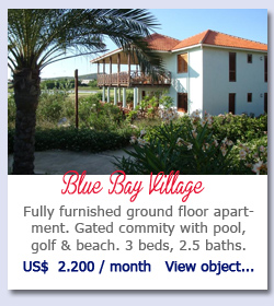 Blue Bay Village - Fully furnished ground floor apartment. Gated commity with pool, golf & beach. 3 beds, 2.5 baths.  US$  2.200 / month