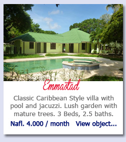 Emmastad  -  Classic Caribbean Style villa with pool and jacuzzi. Lush garden with mature trees. 3 Beds, 2.5 baths. Nafl. 4.000 / month
