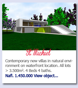 St. Michiel - Contemporary new villas in natural environment on waterfront location. All lots > 3.500m2. 4 Beds 4 baths.Nafl. 1.450.000