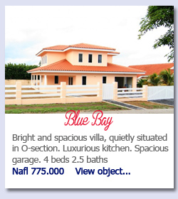 Blue Bay Curacao - Impressive, architect designed, contemporary villa with pool in upscale gated community. 5 beds 4 baths. US$ 699.000   View object...Bright and spacious villa, quietly situated in O-section. Luxurious kitchen. Spacious garage. 4 beds 2.5 bathsNafl 775.000    View object...