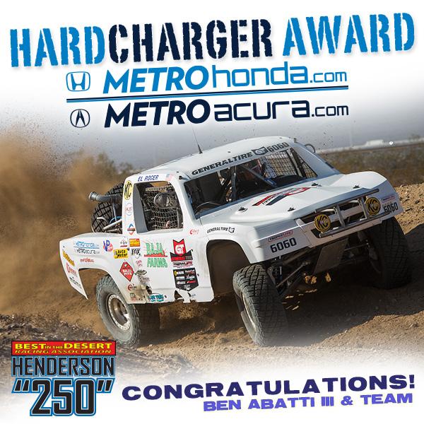 Metro Honda, Metro Acura, Hard Charger Award, Henderson 250, Trophylite, Bink Designs