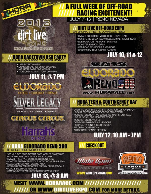 2013 HDRA Eldorado Reno 500 Event Schedule